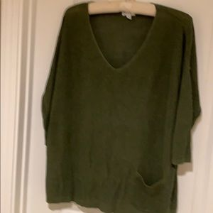 Olive green v neck sweater from J Jill